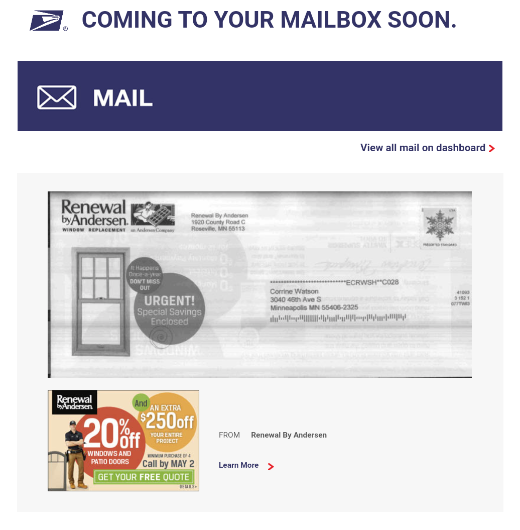 Informed Delivery Digest Email Example